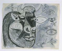 Cabeza del toro con estudios de ojos. Dibujo preparatorio para «Guernica»