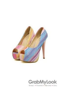 GrabMyLook Colorful Canvas Open Toe Platforms High Heels Stiletto Shoes