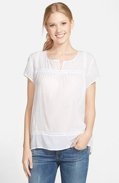 Two by Vince Camuto Seam Detail Gauze Peasant Top available at #Nordstrom