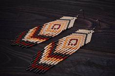 Seed Beaded Earrings, Fringe Earrings, Statement earrings, Tribal Earrings, Boho Tassel earrings, Long Fringe Earrings, Red Orange Beige
