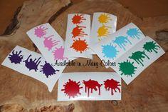 9 stickers Paint splatter, Artist Party, Kid Party, Paint, Paint Brush, Art work, Young Artist, Her birthday, His birthday Vinyl Bin-B-171