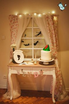 window with shadows for peter pan party