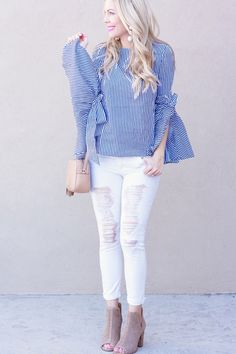 Affordable Spring Outfits//white distressed denim//lucky brand booties//Blue and white chic wish bow top//spring looks Affordable Clothes, Affordable Fashion, Casual Outfits, Fashion Outfits, Fashion Group, Women's Fashion, Spring Fashion, Autumn Fashion, Brand Name Clothing