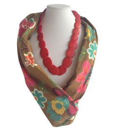 Mustard/Colour Flower Beaded Scarf | Indigo Heart - Fair Trade Fashion  A$23.95