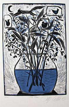 Fox Run, 2 plate linocut by Mariann Johansen Ellis, via Flickr