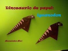 Origami - Papiroflexia. Dinosaurio de papel: Iguanodon