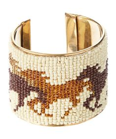 Look at this #zulilyfind! White & Gold Beaded Horse Cuff by Ten79LA #zulilyfinds