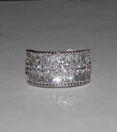 CZ 3 Row Band Ring ~ Baguettes & Rounds ~ SZ. 7 or 8 ~ Rhodium Plated #AimeesTreasures #Band