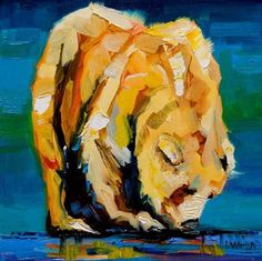 "Daily Paintworks - ""ARTOUTWEST BEAR ANIMAL WILDLIF..."" by Diane Whitehead 8x8 inches."