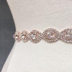 Thin Rose Gold Crystal Rhinestone Belt -  Rose gold Bridal Belt - Bridesmaids Belt - rose gold Bridal Sash - Crystal Belt -  EYM B036