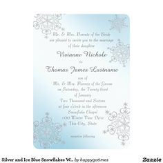 Silver and Ice Blue Snowflakes Wedding