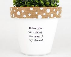 Modern personalized eco-friendly plant pots & by ChickadeePots Thank You Teacher Gifts, Teacher Christmas Gifts, Teacher Appreciation Gifts, Plant Pots, Succulent Pots, Planting Succulents, Fall Crafts, Diy And Crafts, Garden Gifts