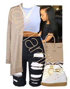 """""""Day, in the town"""" by marriiiiiiiii ❤ liked on Polyvore featuring Yves Saint Laurent, Ray-Ban, Charlotte Russe, Topshop, Comptoir Des Cotonniers, Kendra Scott, Puma and Betsey Johnson"""