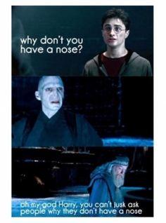 Traduction : Harry : pourquoi vous n'avez pas de nez ? Dumbledore : oh mon Dieu, Harry, tu ne peux pas demander aux gens pourquoi ils n'ont pas de nez