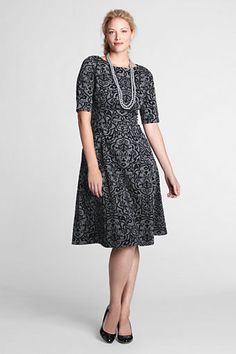 Elbow Sleeve Flocked Ponté Shift Dress, $94.00