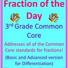"This product is a ""Number of the Day"" for fractions. There are 20 pages included. I specifically aligned this to 3rd grade so it covers and practices all of the third grade Common Core standards for fractions! $"