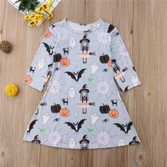 Hello Halloween Long Sleeve Casual Dress from kidspetite.com! Adorable & affordable baby, toddler & kids clothing. Shop from one of the best providers of children apparel at Kids Petite. FREE Worldwide Shipping to over 230+ countries ✈️ www.kidspetite.com #toddler #dresses #clothing #girl