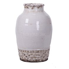 花器 白色裂纹做旧手拉陶瓷花器 陶瓷 Φ340*H550mm