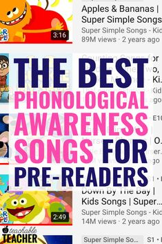 It's extra fun to teach phonemic awareness with songs and nursery rhymes. Preschool, kindergarten and first grade students will have a lot of fun learning letter sounds, rhyming and more with these videos. Phonics Reading, Teaching Phonics, Phonics Activities, Language Activities, Kindergarten Reading, Teaching Reading, Therapy Activities, Therapy Ideas, Teaching Ideas