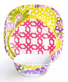 Spring Button Blooms 12-Piece Dinnerware Set by Jay Import