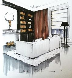 Interesting Find A Career In Architecture Ideas. Admirable Find A Career In Architecture Ideas. Interior Design Renderings, Drawing Interior, Interior Rendering, Interior Sketch, Interior Architecture, Interior And Exterior, Sketch Architecture, Classical Architecture, Interiores Design