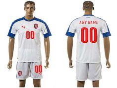 2016 European Cup Czech Away Custom White Men's Soccer Shirt Kit