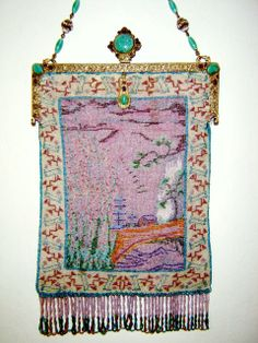 Antique Asian theme micro-beaded purse with jeweled, raised clasp.   Barbara Jones Collection.