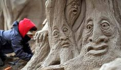 Sand sculptors have been braving the cold on the British Riviera to take part in the annual Weston Super Mare sand sculpture festival. Twenty award winning sand sculptors from across the globe are working around the clock to create sand sculptures including Harry Potter and Marilyn Monroe.