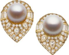 South Sea Cultured Pearl, Diamond, Gold Earrings.