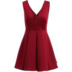 Claret Xl Stylish V-Neck Sleeveless Pleated Dress For Women ($6.72) ❤ liked on Polyvore featuring dresses, pleated dresses, red sleeveless dress, v neckline dress, no sleeve dress and v-neck dresses