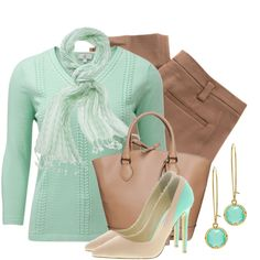 So adorable! Love mint and brown/tan together!