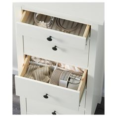 IKEA - HEMNES, chest, white stain, Of course your home should be a safe place for the entire family. That's why hardware is included so that you can attach the chest of drawers to the wall. Made of solid wood, which is a durable and warm natural material. Malm Hack, Hack Ikea, 5 Drawer Chest, Chest Of Drawers, Solid Pine, Solid Wood, Table Ikea, White Chests, Good Environment
