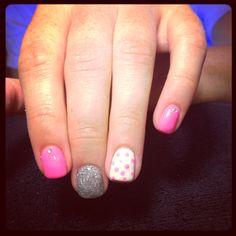 Pink dot gel nails
