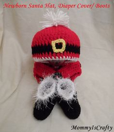Newborn Santa Set Includes Hat Diaper Cover and by MommyisCrafty, $40.00