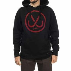 JSLV Hooks Pullover Hoodie Sweatshirt Black/Red Men's Large: 8.5 OZ FLEECE PULL-OVER FIT WITH SCREEN PRINT AT CHEST. JERSEY LINED HOOD.…