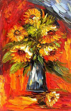 Schilderij van originele kleurrijke zonnebloemen schilderij