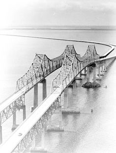 Both spans of the Sunshine Skyway Bridge between Pinellas and Manatee County Florida at the mouth of Tampa Bay - 1972 Map Of Florida Beaches, Old Florida, Manatee County Florida, Sunshine Skyway Bridge, Florida Images, Chicago Photos, Petersburg Florida, Saint Petersburg, Image Title