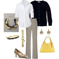 """""""Navy & Yellow for Work"""" by vintagesparkles78 on Polyvore"""