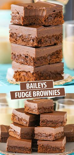 These Baileys Fudge Brownies are so dangerously good! Melt-in-your-mouth Baileys brownie on the bottom, Baileys fudge in the middle and chocolate on top. Fudge Brownies, Bailey Brownies, Homemade Brownies, Cheesecake Brownies, Brownie Cake, Köstliche Desserts, Chocolate Desserts, Delicious Desserts, Dessert Recipes
