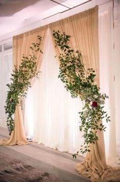 Diy wedding backdrop - Draping and greenery at altar Diy Wedding Backdrop, Rustic Backdrop, Diy Backdrop, Ceremony Backdrop, Ceremony Decorations, Engagement Decorations, Wedding Centerpieces, Wedding Stage, Wedding Ceremony