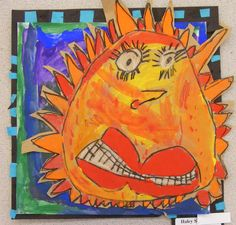 Field Elementary Art Blog!: 1st Grade suns with personality. Color mixing, warm/cool colors