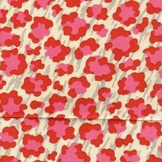Simba Tropic Red Animal Print Drapery Fabric by P Kaufman