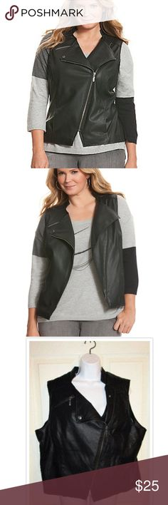 NEW Lane Bryant Faux Leather MOTO Vest SZ 20W This is stunning.. New with tags.. Bust measures 52 inches and length is 24 inches. Lane Bryant Jackets & Coats Vests