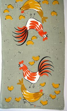 1960s Vera Neuman Tea Towel  Chickens Roosters by shabbyshopgirls