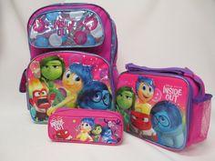 75eaa055c33 Disney Inside Out Pink Toddler backpack lunch bag Pencil Case Lot Joy Anger