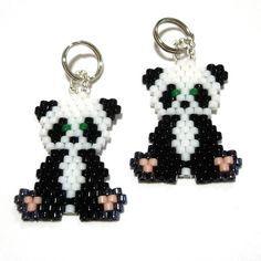 Free Peyote Stitch Beading Patterns | Panda Brick Stitch by Handmade Cuties | Jewelry Pattern