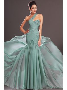 Trumpet/Mermaid One-Shoulder Sleeveless Sweep/Brush Train Chiffon Applique Dresses
