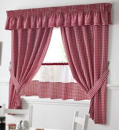 This kitchen curtain set includes a pair of pencil pleat kitchen curtains, a pair of tiebacks, a pel Curtains With Blinds, Home Curtains, Red Curtains, Curtain Pelmet, Drapes Curtains, Kitchen Curtain Sets, Curtains, Curtain Decor, Kitchen Curtain Designs