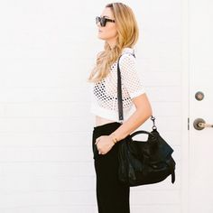 Inspiring Street Style Outfits To Try For Summer via @Who What Wear Dashofdarling is wearing: T By Alexander Wang shirt; Nordstrom pants; Proenza Schouler bag; Céline sunglasses.