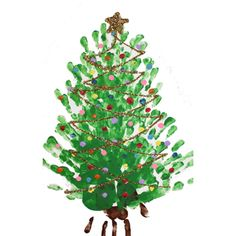 Finger painted Christmas Tree... let your fingers do the painting!